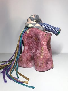 Ceramic and textile sculpture: 'No. 6'