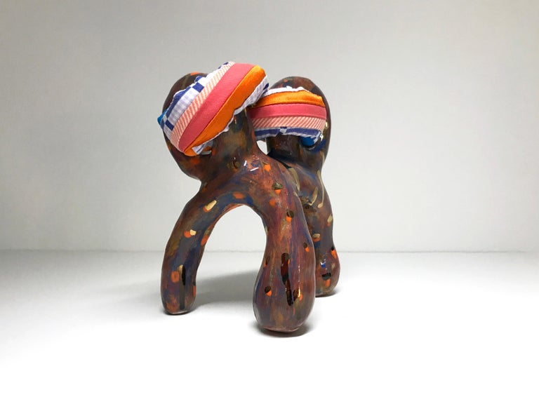 Ceramic and textile small sculpture: 'No. 15' - Contemporary Mixed Media Art by Ak Jansen