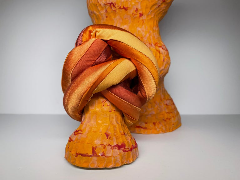 Medium Abstract Ceramic Sculpture with Textile: 'David' For Sale 2