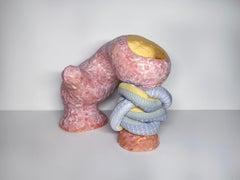 Medium Abstract Ceramic Sculpture with Textile: 'Mariette'