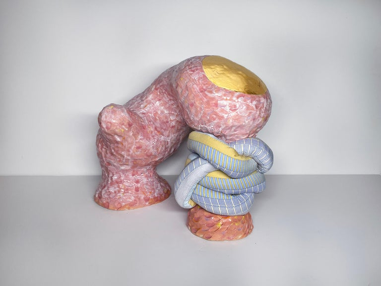 Medium Abstract Ceramic Sculpture with Textile: 'Mariette' - Mixed Media Art by Ak Jansen