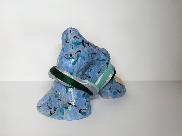 Medium Abstract Ceramic Sculpture with Textile: 'Tijme' For Sale 1