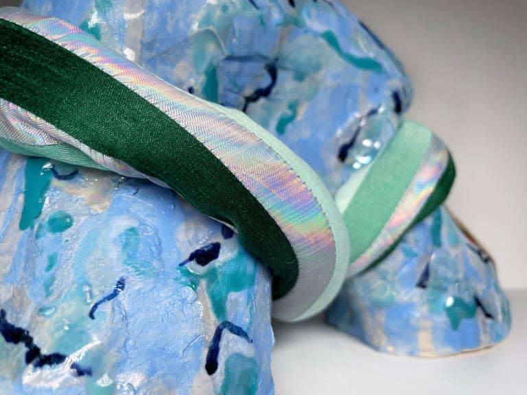 Medium Abstract Ceramic Sculpture with Textile: 'Tijme' For Sale 2