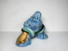 Medium Abstract Ceramic Sculpture with Textile: 'Tijme'