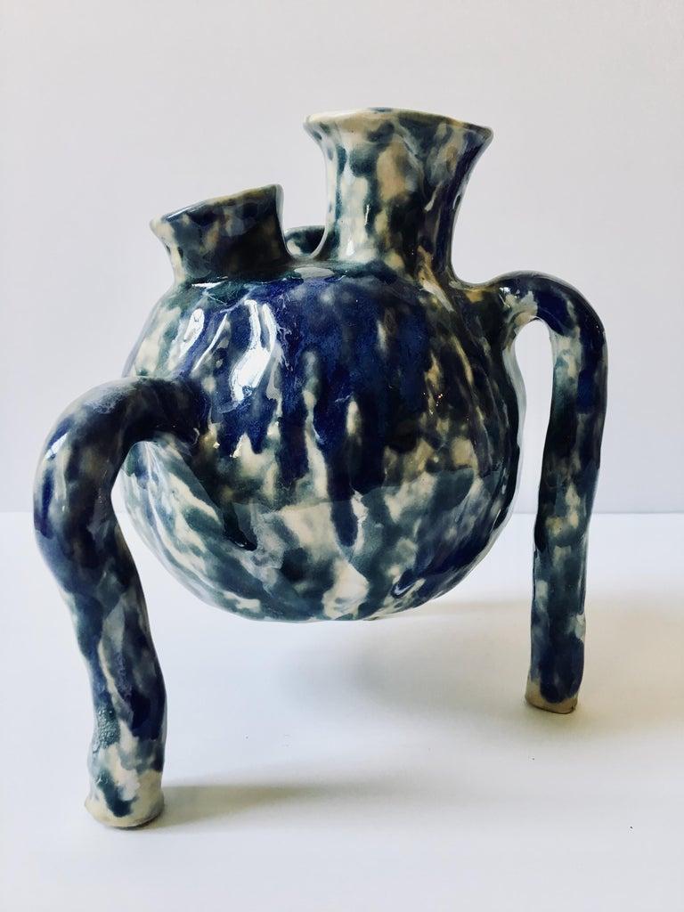 Sculpture ceramic vessel: 'Creature Medium 2' - Gray Abstract Sculpture by Ak Jansen