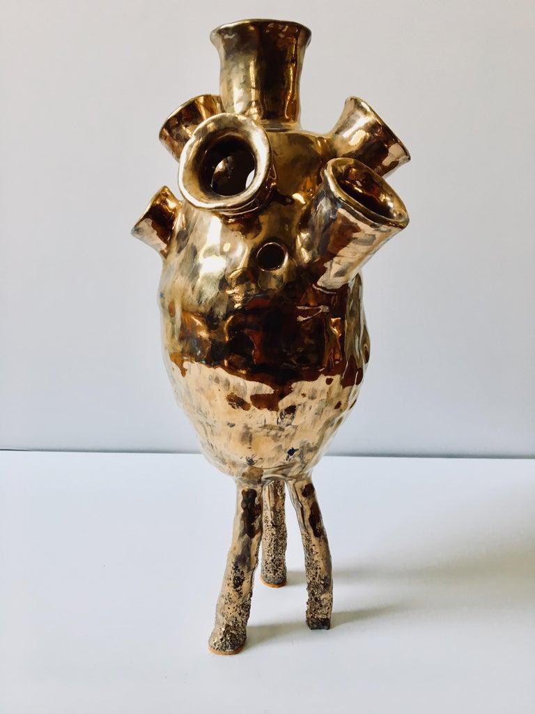 Ak Jansen Abstract Sculpture - Abstract  Ceramic Vessel Sculpture: 'Creature Medium 9'
