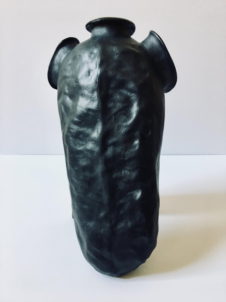 Sculpture of black ceramic vessel: 'Creature Medium No 6' For Sale 8
