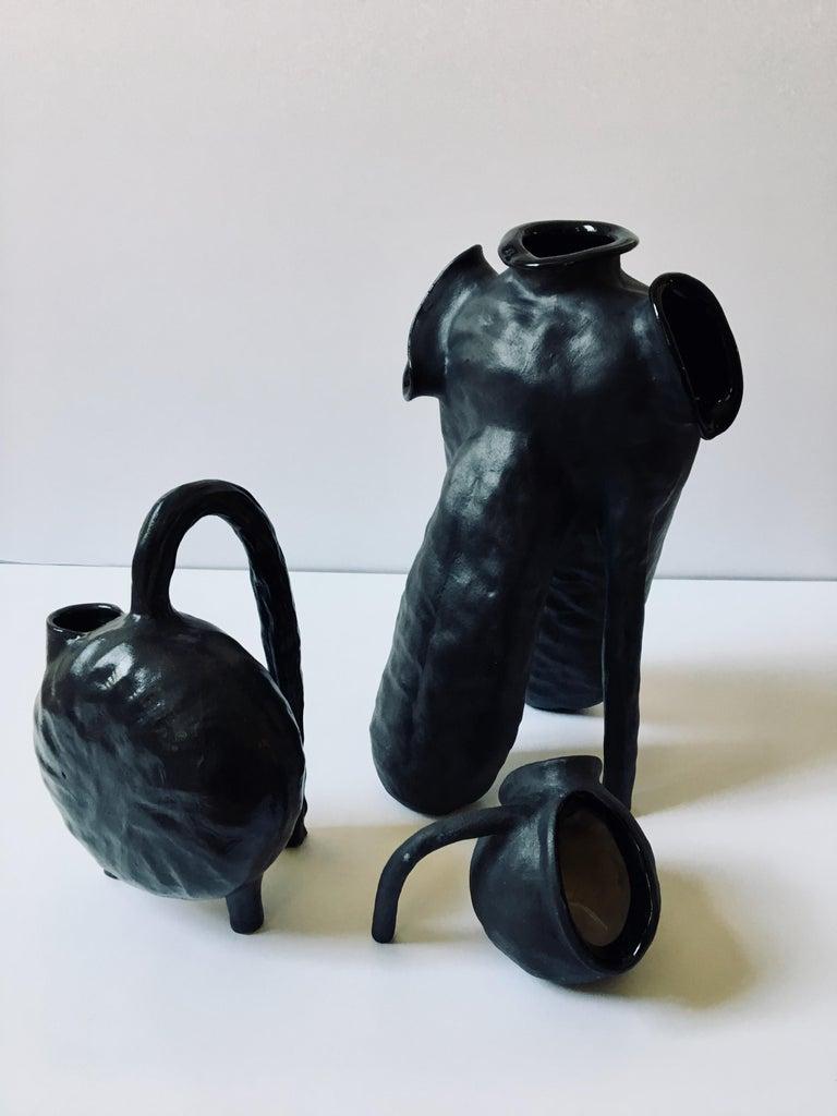 Sculpture ceramic vessels: 'Creatures No. 1, 6, 8' - Gray Abstract Sculpture by Ak Jansen