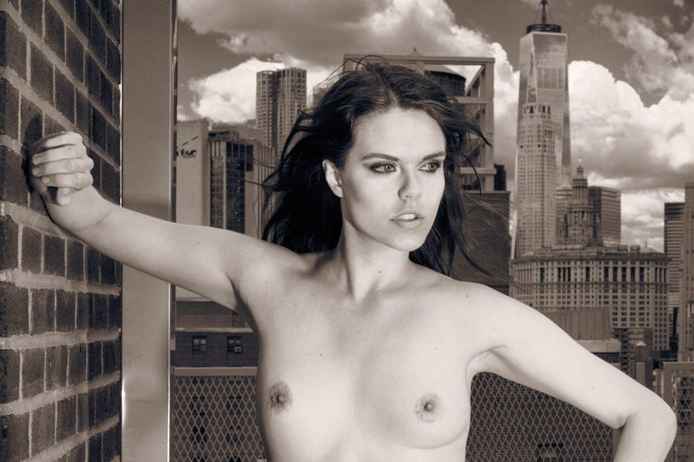 Skyline Nude Julie WTC, Photograph, Archival Ink Jet - Black Black and White Photograph by A.K. Nicholas