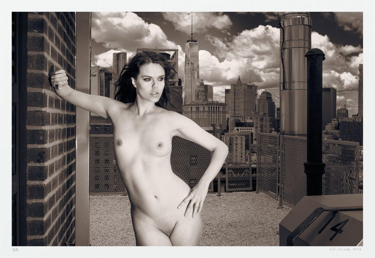 A.K. Nicholas Black and White Photograph - Skyline Nude Julie WTC, Photograph, Archival Ink Jet