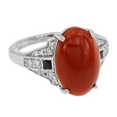 AKA Coral 4.10 Carat Onyx Diamond Cocktail Ring