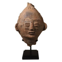 Akan Commemorative Portrait Ghana Terracotta with Patina Old African Tribal Art