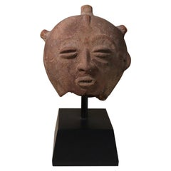 Akan Ghana Terracotta Portrait Head with Patina Old African Tribal Art