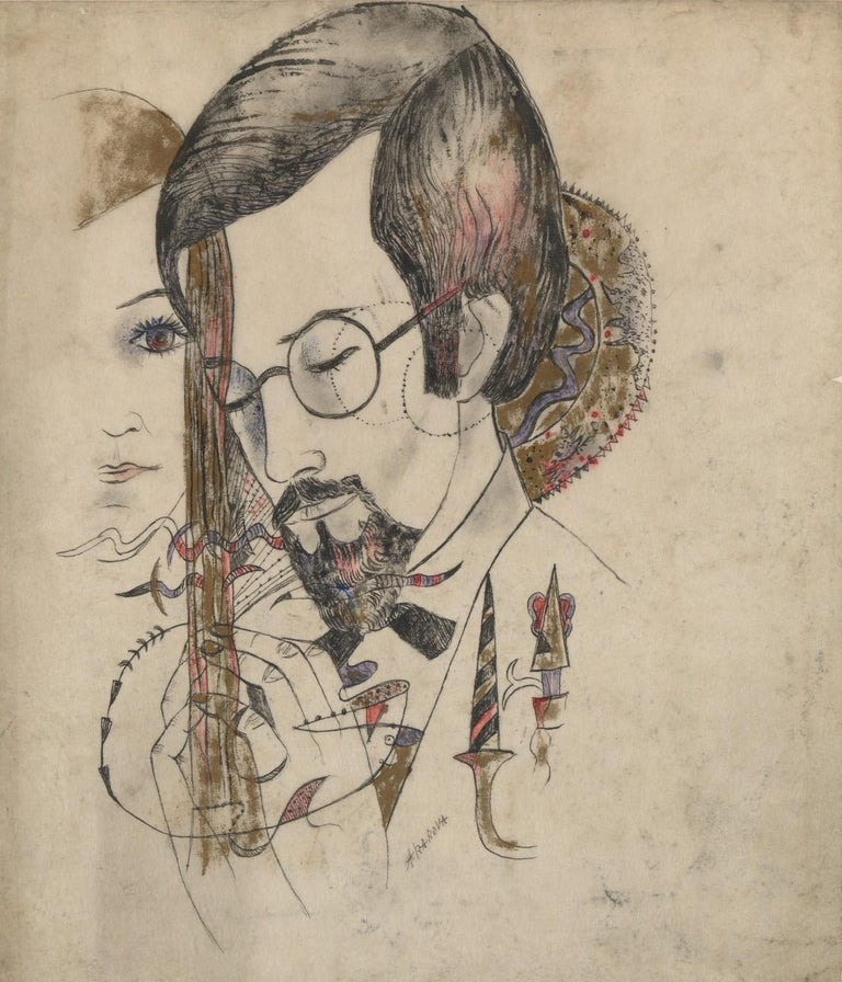 Belgian Akarova Marguerite,Portrait of a Man and a Woman, Drawing on Paper For Sale