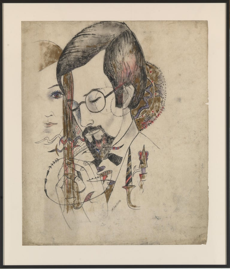 20th Century Akarova Marguerite,Portrait of a Man and a Woman, Drawing on Paper For Sale