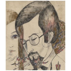 Akarova Marguerite,Portrait of a Man and a Woman, Drawing on Paper