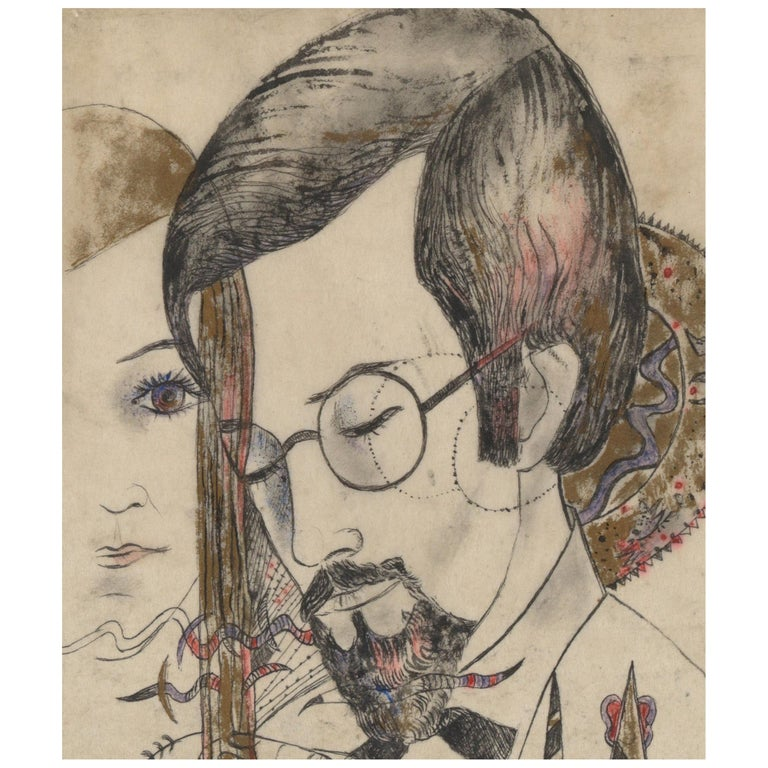 Akarova Marguerite,Portrait of a Man and a Woman, Drawing on Paper For Sale