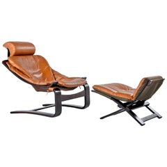 Ake Fribytter for Nelo Cognac Leather Rosewood Kroken Lounge Chair and Ottoman