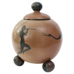 Åke Holm for Höganäs, Swedish Art Deco Ceramic Jar with Lid