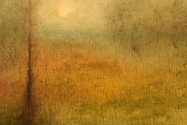 Swedish Åke Klingberg, Sweden, Oil on Board, Modernist Landscape, 1960s For Sale