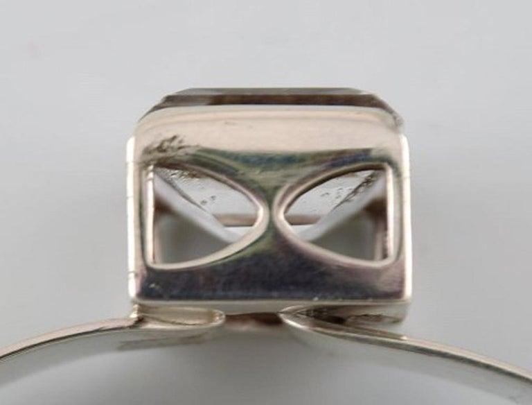 Åke Lindström Modernist Bracelet in Sterling Silver with Mountain Crystal In Excellent Condition For Sale In bronshoj, DK