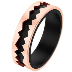 Akillis Capture in Motion Ring 18 Karat Rose Gold and Black Titanium