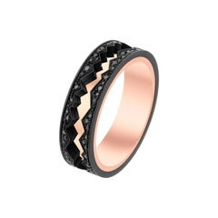 Akillis Capture in Motion Ring 18 Karat Rose Gold White Gold Black Diamonds