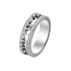 Akillis Capture in Motion Ring 18 Karat White Gold White Diamonds