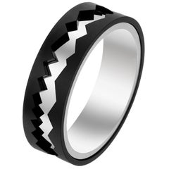Akillis Capture in Motion Ring Black Titanium and 18 Karat White Gold