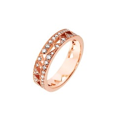 Akillis Capture Me Band Ring 18 Karat Rose Gold Full Set White Diamonds