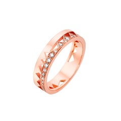 Akillis Capture Me Band Ring 18 Karat Rose Gold Half-Set White Diamonds