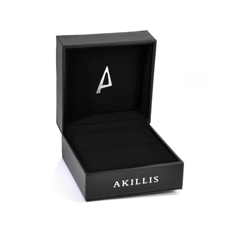 Round Cut Akillis Capture Me Bracelet 18 Karat Rose Gold Half-Set White Diamonds for Him For Sale