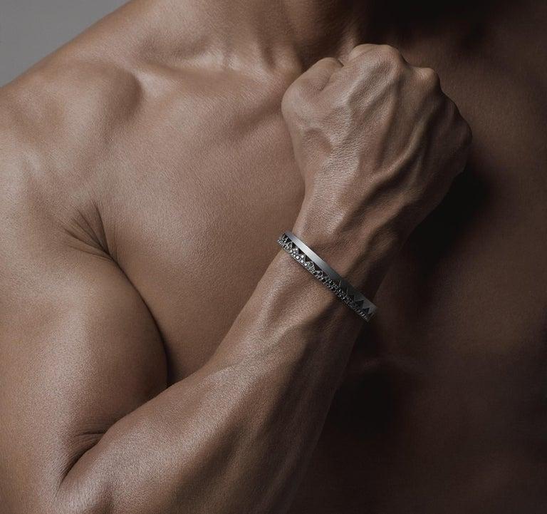 Women's or Men's Akillis Capture Me Bracelet Titanium Half-Set Black Diamonds For Sale