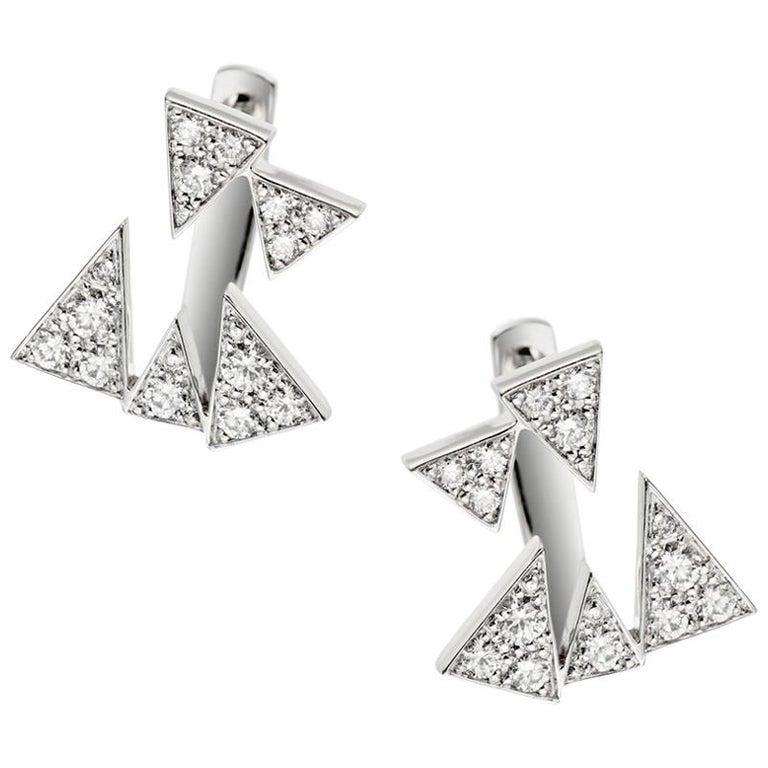 Akillis Capture Me Studs 18 Karat White Gold Set White Diamonds For Sale