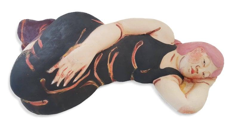 Akio Takamori Sleeping Woman in Black Dress with Red Hair, 2013 Stoneware with Underglazes 8 × 27 × 17 in  Takamori was born in Nobeoka, Miyazaki, Japan in 1950 October 11. The son of an obstetrician/gynecologist who ran a clinic, Takamori was