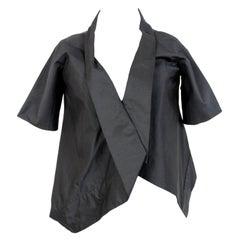 Akira Black Silk Evening Asymmetrical Bolero Jacket