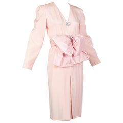 Akira Isogawa Pink Cocktail Dress with Oversize Jewel Cummerbund Bow – M, 1980s