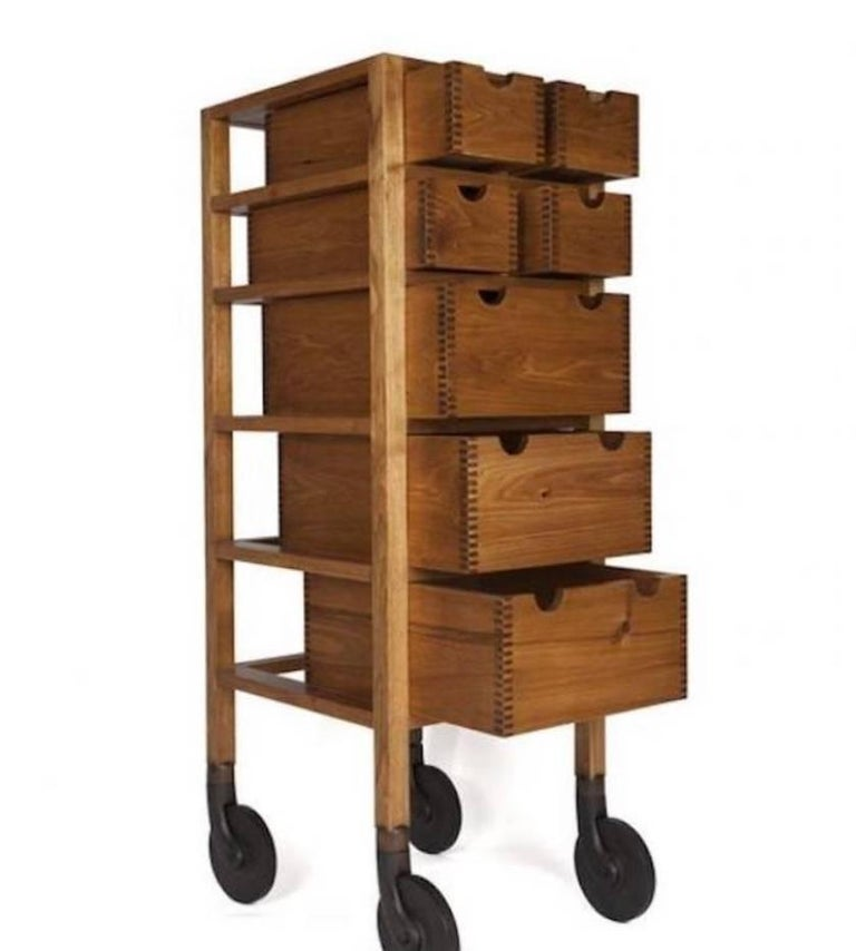 akmd collection tall solid wood shaker inspired modern rolling dresser for sale at 1stdibs. Black Bedroom Furniture Sets. Home Design Ideas