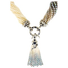Akoia Keshi Pearls Palladium White Gold White Diamonds Tassle Necklace