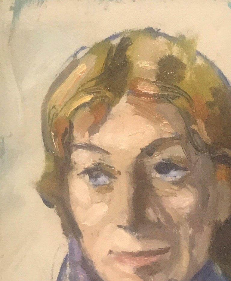 AKOS BIRO (HUNGARIAN 1911-2002) EXPRESSIONIST OIL - PORTRAIT IN DEEP THOUGHT For Sale 1