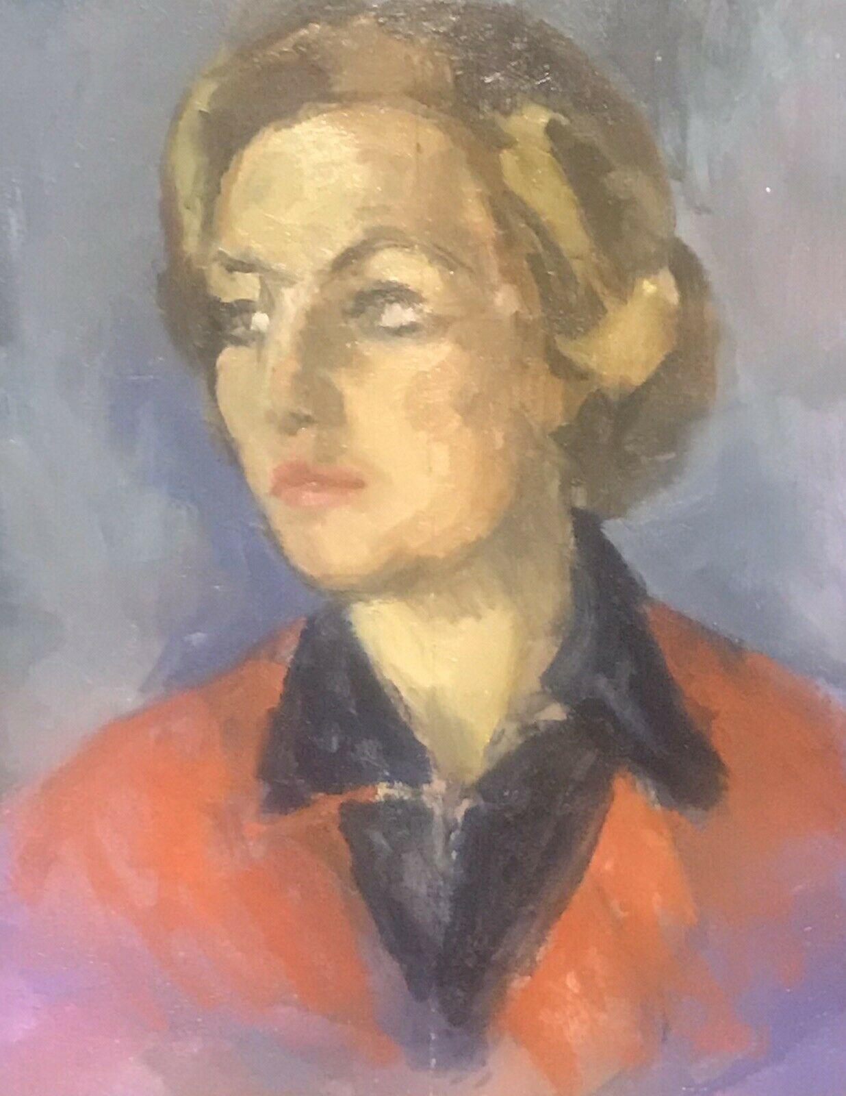 AKOS BIRO (HUNGARIAN 1911-2002) EXPRESSIONIST OIL PORTRAIT LADY IN RED - SIGNED