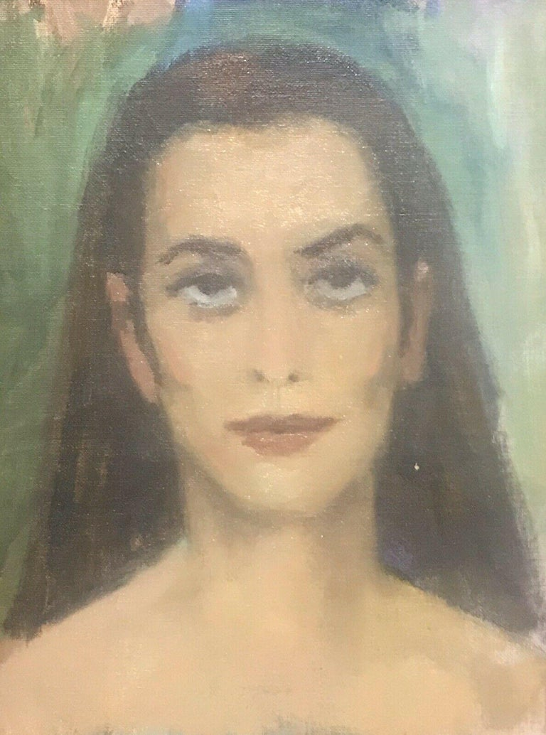 AKOS BIRO (HUNGARIAN 1911-2002) EXPRESSIONIST OIL PORTRAIT OF A LADY BROWN HAIR For Sale 1