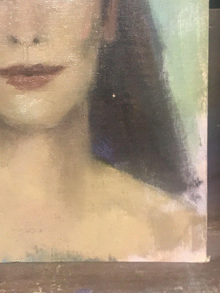 AKOS BIRO (HUNGARIAN 1911-2002) EXPRESSIONIST OIL PORTRAIT OF A LADY BROWN HAIR For Sale 2