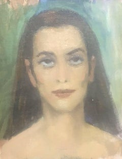 AKOS BIRO (HUNGARIAN 1911-2002) EXPRESSIONIST OIL PORTRAIT OF A LADY BROWN HAIR