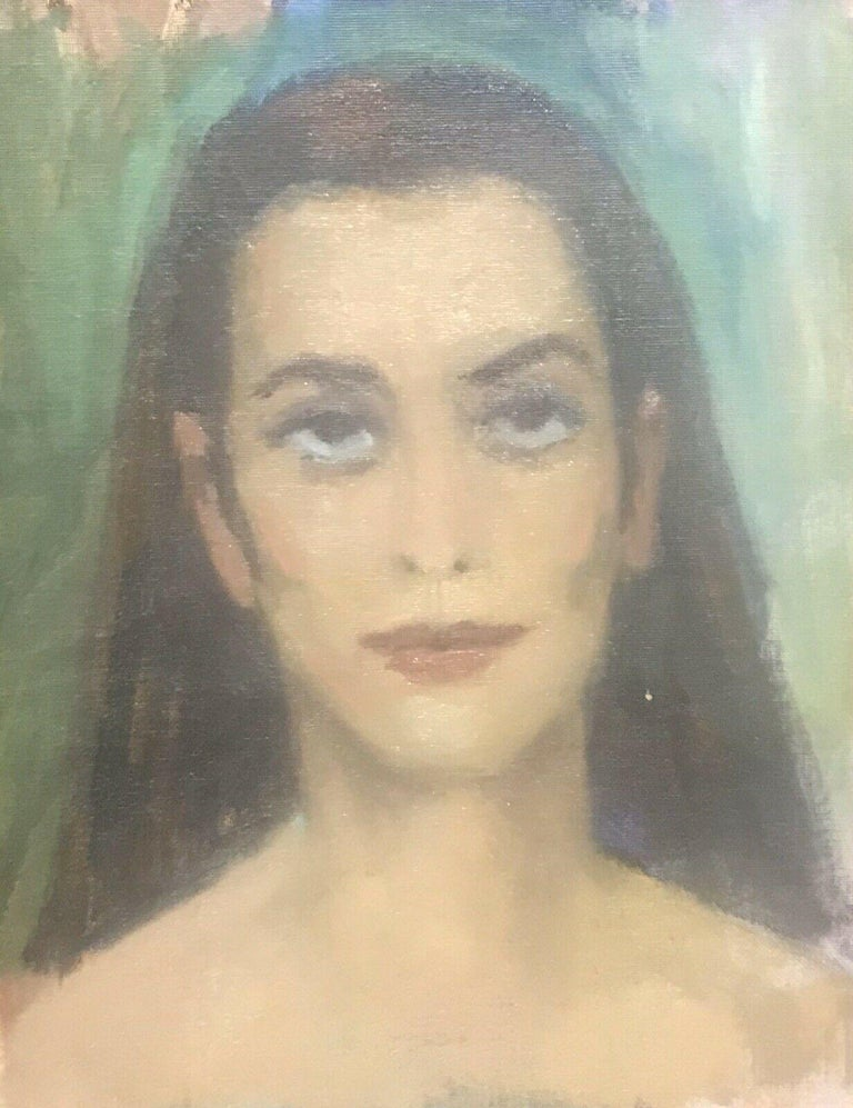 Akos Biro Portrait Painting - AKOS BIRO (HUNGARIAN 1911-2002) EXPRESSIONIST OIL PORTRAIT OF A LADY BROWN HAIR