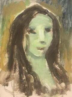 AKOS BIRO (HUNGARIAN 1911-2002) FRENCH EXPRESSIONIST OIL - ABSTRACT PORTRAIT