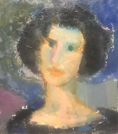 AKOS BIRO (HUNGARIAN 1911-2002) FRENCH EXPRESSIONIST OIL - PORTRAIT OF WOMAN