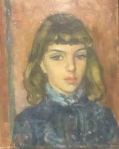 AKOS BIRO (HUNGARIAN 1911-2002) FRENCH EXPRESSIONIST OIL - PORTRAIT YOUNG LADY