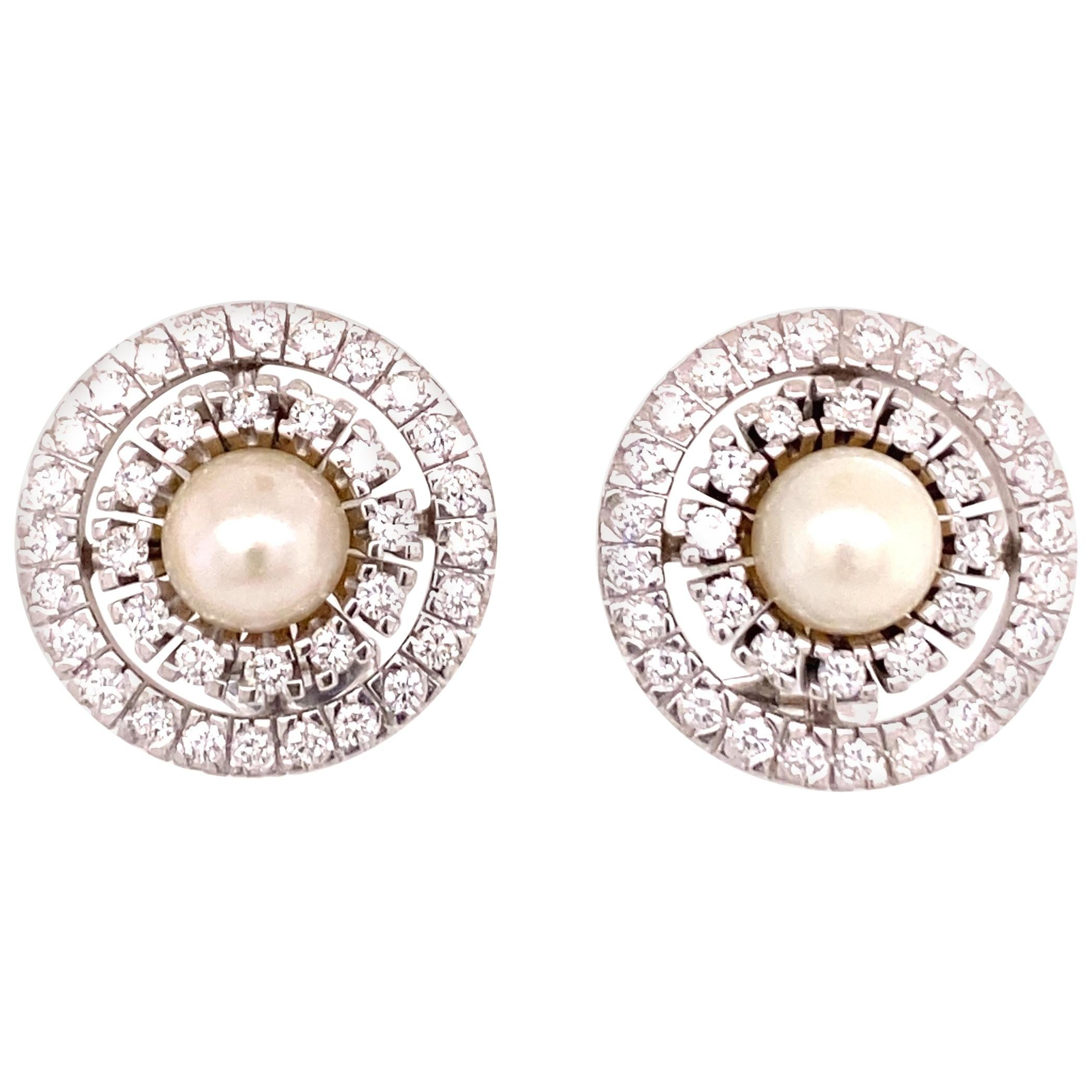 Akoya Cultured Pearl and Diamond Earclips in 18 Karat White Gold