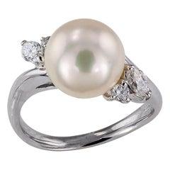 Akoya Cultured Pearl Diamond Platinum Ring